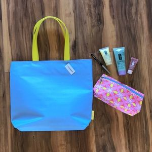 NEW Clinique Tote, Cosmetic Bag And 4 Items